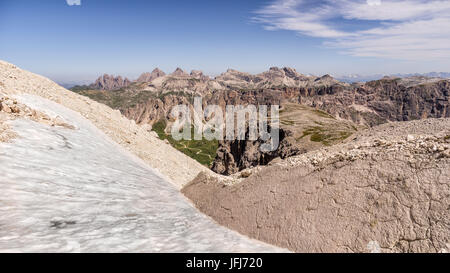 Rock scenery in the Pisciadu via ferrata, dolomites, Sella group, Alta Badia, South Tirol, Italy - Stock Photo
