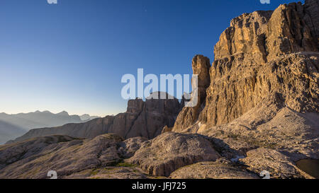 Cliff faces in the Pisciadu via ferrata, dolomites, Sella group, Alta Badia, South Tirol, Italy - Stock Photo
