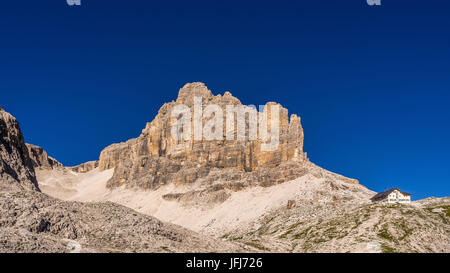 Rock scenery in the Pisciadu via ferrata and Pisciadu hut, the Dolomites, Sella group, Alta Badia, South Tirol, - Stock Photo