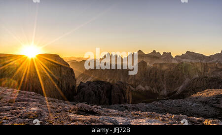 Mountain landscape in the Pisciadu via ferrata at sundown, dolomites, Sella group, Alta Badia, South Tirol, Italy - Stock Photo