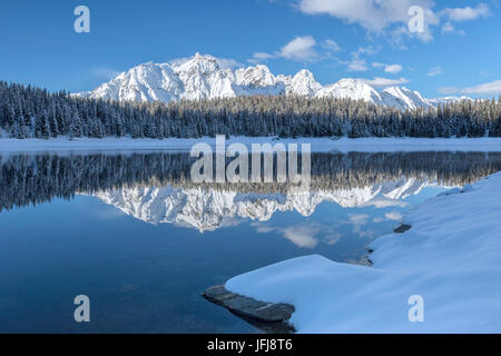 Woods and snowy peaks are reflected in the clear water of Lake Palù Malenco Valley Valtellina Lombardy Italy Europe - Stock Photo