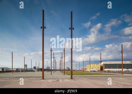 UK, Northern Ireland, Belfast, Belfast Docklands, markings of exact spot in the former Harland and Wolff shipyard - Stock Photo