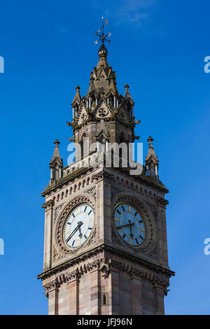 UK, Northern Ireland, Belfast, Albert Memorial Clock Tower - Stock Photo
