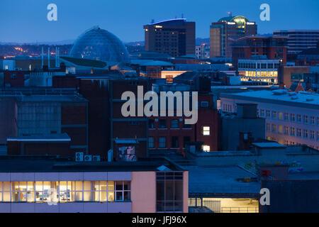 UK, Northern Ireland, Belfast, elevated city view, dawn - Stock Photo