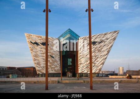 UK, Northern Ireland, Belfast, Belfast Docklands, Titanic Belfast Museum, exterior - Stock Photo