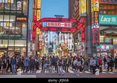 Japan, Tokyo City, Shinjuku District, Kabukicho district at night - Stock Photo