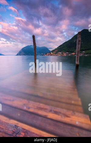 Europe, Italy, Iseo lake at dawn, province of Brescia, - Stock Photo