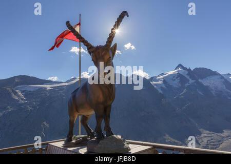 Europe, Austria, Carinthia, High Tauern, Glockner group, An ibex bronze statue near Kaiser Franz Josefs haus, on - Stock Photo