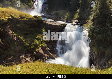 Europe, Austria, Salzburg Land, Krimml, Hohe Tauern National Park, the krimml waterfalls, the upper waterfalls - Stock Photo