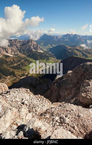 Europe, Italy, South Tyrol, Bolzano, A panoramic view from the summit of Pisciadu to the Alta Badia valley, Dolomites - Stock Photo