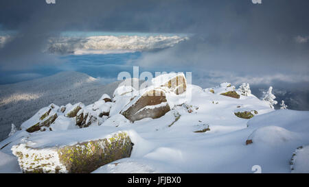 a suggestive landscape from the peak of Rasciesa Mount (Raschötz) in an early morning after a snowfall, Val Gardena, - Stock Photo