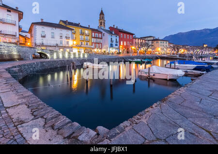 The small port of Ascona in front of Lago Maggiore, Canton Ticino, Switzerland, - Stock Photo