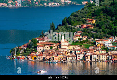 The town of Peschiera Maraglio, Lake Iseo, Lombardy, Itay, Europe - Stock Photo