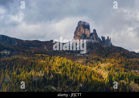 Cinque Torri, Falzarego Pass, Cortina d'Ampezzo, Dolomiti, Dolomites, Veneto, Italy, Cinque Torri - Stock Photo