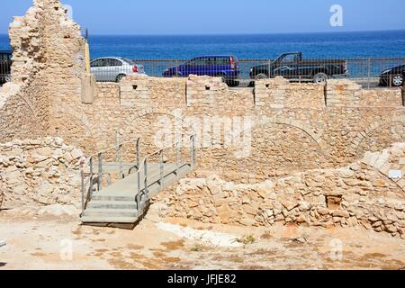 Ruins of the Monastery of St Peter and St Paul in the area of Kastella, Heraklion, Crete, Greece, Europe. - Stock Photo