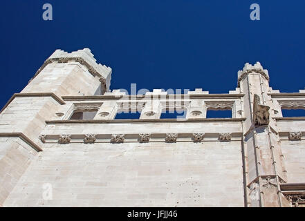 Sa Llotja tower detail and blue sky on a sunny day in Palma, Mallorca, Spain. - Stock Photo