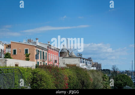 PALMA DE MALLORCA, BALEARIC ISLANDS, SPAIN - MARCH 29, 2017: Palma buildings and windmill detail in Es Jonquet area - Stock Photo