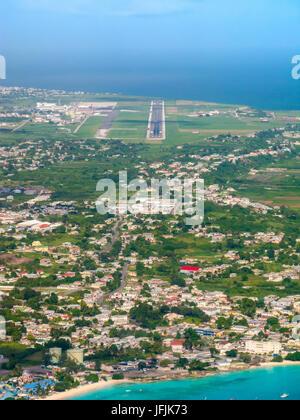 The Barbados runway approach, Barbados Grantley Adams International Airport (GAIA) Airport, Barbados, West Indies - Stock Photo