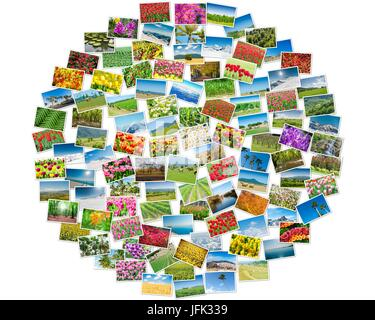 Various nature photos arranged in round frame - Stock Photo