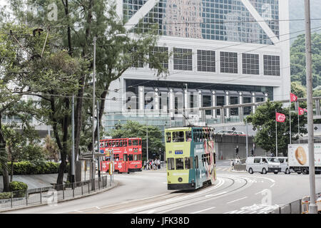 Hong Kong cityscape view with double-deck Tramways, Ding Ding - Stock Photo