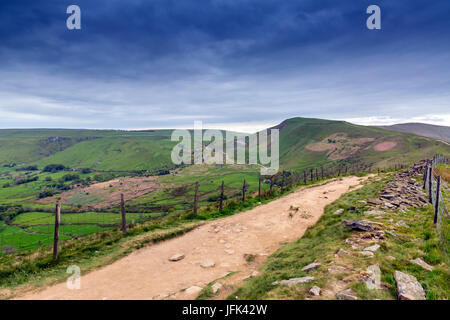 Looking along The Great Ridge towards Mam Tor in the Peak District, Derbyshire, England, UK - Stock Photo