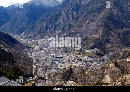Andorra la Vella, Andorra, the country of the Pyrenees - Stock Photo
