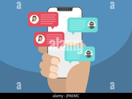 Woman holding bezel-free / frameless smartphone in hand and chatting with chat bot robot. Chat messages notification - Stock Photo