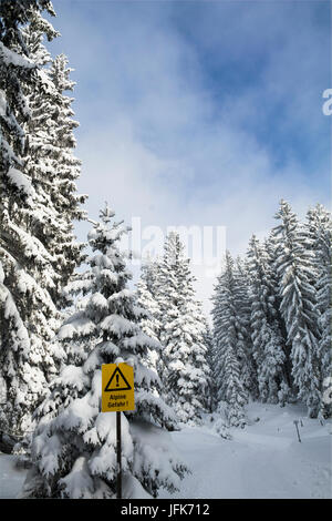 Warning sign with snow covered trees against sky - Stock Photo