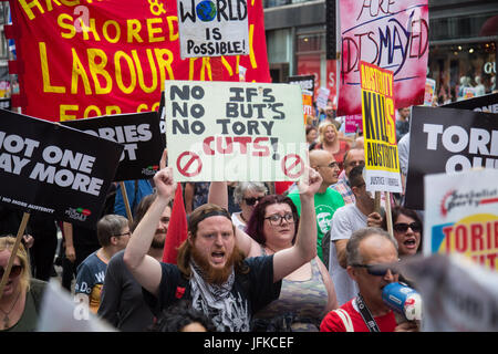 London, UK. 01st July, 2017. London, July 1st 2017. Anti-Tory protesters march from the BBC's headquarters through - Stock Photo