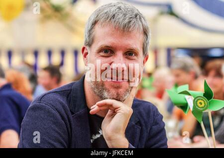 Tutzing, Bayern, Germany. 1st July, 2017. Dieter Janacek of the Bavarian Greens and Bundestag representative. Green - Stock Photo