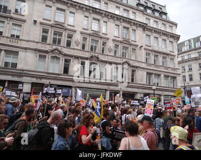 London, UK. 1st July, 2017. Thousands attend Not one day more rally against current government in the UK, London, - Stock Photo