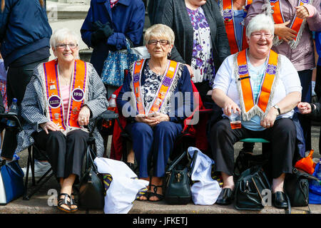 Glasgow, Scotland, UK. 1st July, 2017. More than 6000 members of the Loyal Orange Lodge from across Scotland, England, - Stock Photo