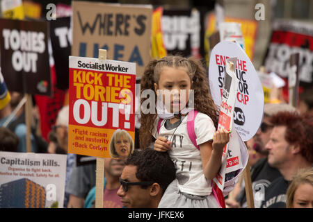 London, UK. 01st July, 2017. Thousands of people on the Not One More Day, Tories out national demonstration in central - Stock Photo