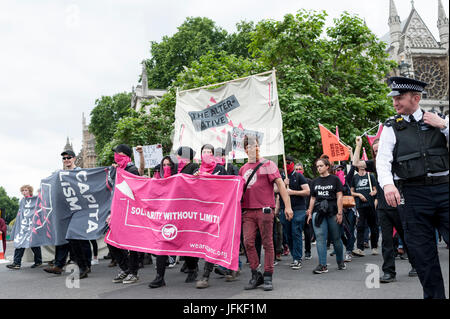 London, UK. 01st July, 2017. LONDON, ENGLAND - JULY 01 'Weareplanc group id joining the 'Not One Day More' rally - Stock Photo