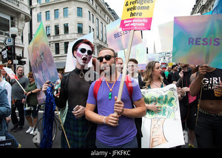London, UK. 01st July, 2017. Peoples Assembly National Demonstration Against Theresa May and Austerity - Not One - Stock Photo