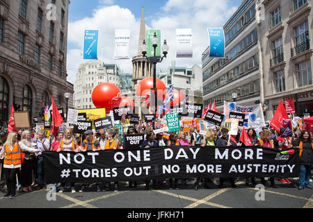 London, UK. 1st July, 2017. Thousands of people from many different campaign groups and trade unions assemble for - Stock Photo