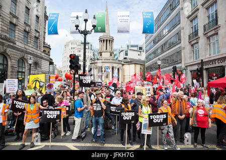 London, UK. 1st July, 2017. Thousands of people from many different campaign groups and trade unions assemble in - Stock Photo