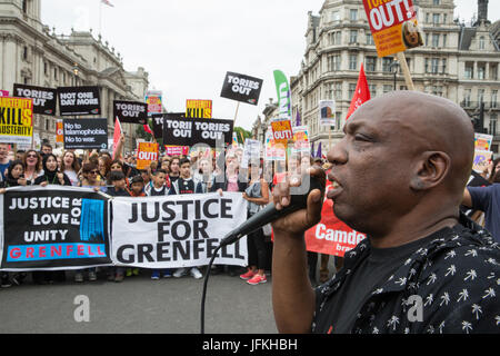 London, UK. 1st July, 2017. Justice for Grenfell campaigners among thousands of people from many different campaign - Stock Photo