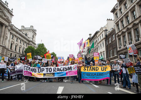 London, UK. 1st July, 2017. Stand Up To Racism campaigners among thousands of people from many different campaign - Stock Photo