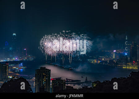 Hong Kong. 01st July, 2017. Fireworks at Victoria Harbour, Hong Kong. Commemorating 20th anniversary of Hong Kong - Stock Photo