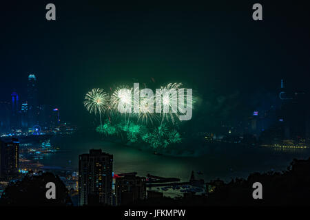 Hong Kong. 01st July, 2017. Fireworks at Victoria Harbour, Hong Kong. Commemorating 20th anniversary of Hong Kong - Stock Photo