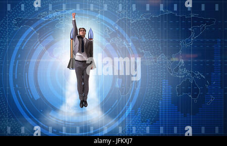 Businessman flying with rocket in funny business concept - Stock Photo