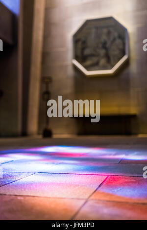 Montreal, Canada - May 28, 2017: Inside St Joseph's Oratory on Mont Royal with colorful reflections of stained glass - Stock Photo