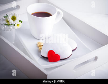 Valentine's Cookies and coffee - Stock Photo