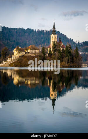 Bled, Slovenia, Europe, A view of Bled lake with St. Marys Assumption church on the small island, - Stock Photo