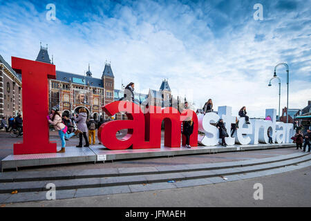 Amsterdam, Netherlands, Europe, I am Amsterdam' logo at Rijksmuseum Museum Square, - Stock Photo