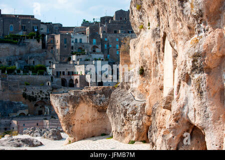 Europe, Italy, Basilicata, Potenza district, Matera, sassi di Matera, European Capital of Culture - Stock Photo
