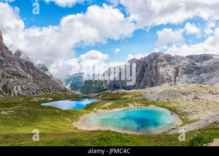 Summer view of Laghi dei Piani, Sesto Dolomites Trentino Alto Adige Italy Europe - Stock Photo