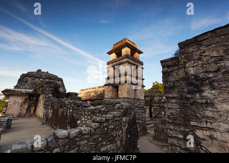 The Palace, Palenque archeological site, Palenque National Park, Chiapas, Mexico, - Stock Photo