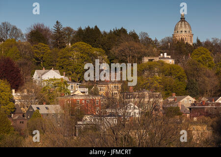 USA, Rhode Island, Providence, elevated view of College Hill - Stock Photo